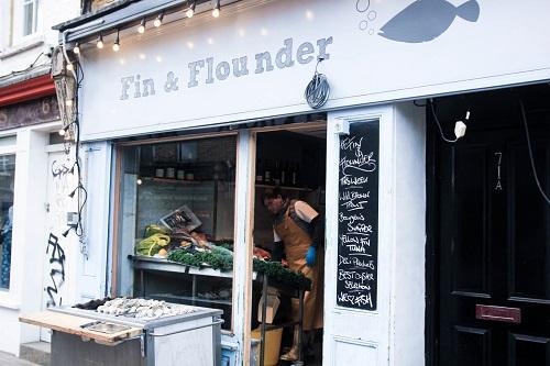 Fin & Flounder fishmongers Broadway Market shopfront